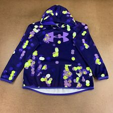 Under Armour Girl Youth Size Large Blue Reflective Logo Pullover Athletic Hoodie