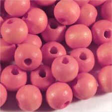 Lot de 100 Perles en Bois 8mm Rose corail