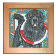 "Newfoundland Newfie Dog Kitchen Ceramic Trivet Framed in Pine 8"" x 8"""