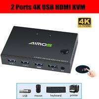 HDMI USB KVM 4K HD Video Umschalter Splitter Box Konverter für Tastatur Maus