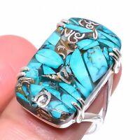 Copper Turquoise Gemstone Handmade Ethnic Gift Jewelry Ring Size 8.5 VS-2904