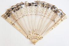 éventail dentelle + paillettes 19e siècle ancien à restaurer fan