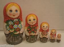 Russian Matryoshka - Wooden Nesting Dolls - 5 Pieces Unique Coloring - Set #6