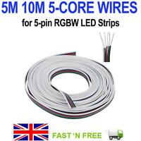 5/10M 5-CORE EXTENSION WIRE CORD FOR 5 PIN RGBW 3528 5050 5630 LED STRIP LIGHTS