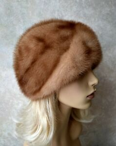 "VTG Genuine Honey blonde MINK FUR HAT, TURBAN STYLE, LIGHT BROWN, 22"", real fur"