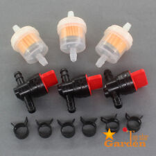 """3Kit 1/4"""" In Line Fuel Gas Filter Shut Cut Off Valve Clamp For Briggs & Stratton"""