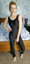 Black Shiny Lycra Sleeveless Catsuit Dance Unitard Spandex Medium UK 12 36""