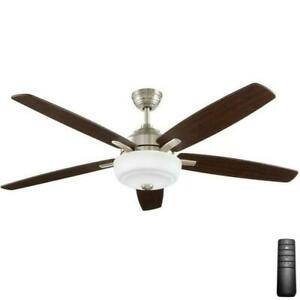 New 60 in. LED Indoor Brushed Nickel Ceiling Fan with Light Kit and Remote