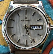 Vintage Hamilton Swiss Quarts Day Date Yellow Gold Plate Mens Watch Working