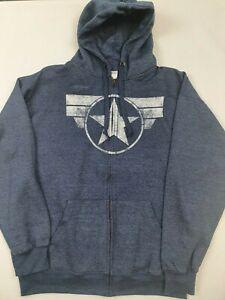 Captain America Star Logo Navy Zip up Hoodie, XXL