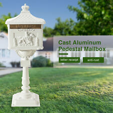 Heavy Duty Mailbox Security Cast Aluminum Pedestal Mail Box White