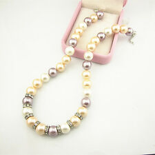 Freshwater Shell Pearl Necklace 18'' 12mm Genuine Natural Multi-Color Cultured