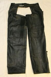 Men's Harley Davidson Large Long Black Leather Chaps Pre-owned Ship FREE!!!