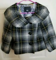 Mossimo Womens XL Crop Jacket Black White Plaid Lined 3/4 Sleeve Coat Retro BWJ
