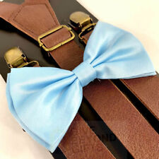 Suspender and Bow Tie Adults Brown Leather Baby Pearl Blue Formal Wear Accessory
