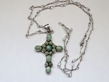 vintage sterlin silver cross turquoise pendant necklace SUPER RARE ! (No.Ю2)