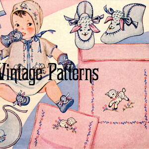 Vintage Pattern ~ Baby Lambs Embroidery and Booties