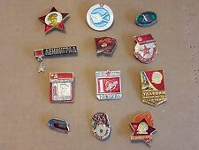 Lot of 12 Soviet USSR Russia metal pins / badges
