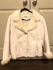 Coldwater Creek White Leather And Fur Coat