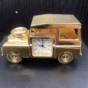 Land Rover Defender Table Clock New in Gold Finish&OriginalPresentationBox.