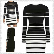 NWT $298 Rebecca Minkoff Groovy Intarsia Black and White Knit Cotton Blend Sheer