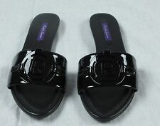 $395 RALPH LAUREN COLLECTION MABREY PATENT LEATHER FLAT SANDALS BLACK SIZE 40B