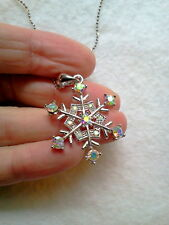 """SILVER FINISH SNOWFLAKE NECKLACE WITH AB CRYSTAL 17"""" CHAIN"""