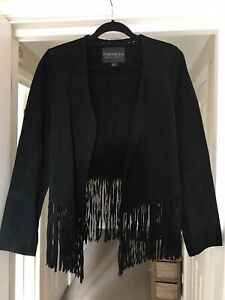Suede Western Vintage-style Black Fringe Jacket XL Women's