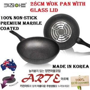 28 cm Kitchen Art Marble Stone Non Stick Coated Wok Pan WITH FREE GLASS LID