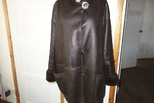 FENDI COAT BROWN EXOTIC LEATHER SHEEPSKIN ITALIAN 44