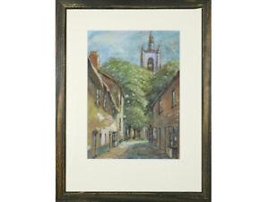 'Village Street Scene with Church' Framed Pastel Drawing Original Art
