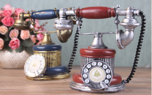 Retro Style Rotary Dial Phone Handset Old Vintage Telephone Home Gift Decor