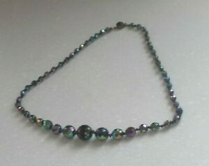 Vintage Art Deco Carnival Faceted Glass Beaded Goth/Wicca/Victorian Necklace VGC