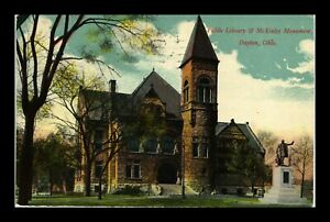 DR JIM STAMPS US PUBLIC LIBRARY AND MCKINLEY MONUMENT DAYTON OHIO POSTCARD