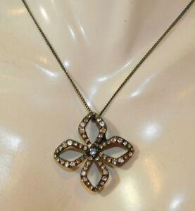 Fossil Funkelnde Malteser Kreuz / Blume Anhänger Japanned Halskette 8e 69