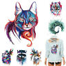 Fox Tiger Cat Panda Feather Patches Iron on Clothes Sticker DIY Thermal Transfer