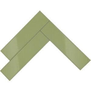 "Green Glossy 10.5"" x 2.5""  Ceramic Subway Tiles - Key Lime - Kitchen/Bathroom"