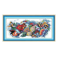 Stamped Cross Stitch Kit for Beginners Pre-Printed Tropical Fish Aida Cloth