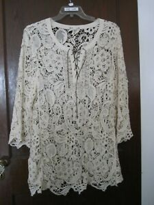 RuffHewn 3X Lace Top 3/4 Bell Sleeves Drawstring Closure White