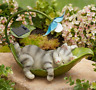 Garden Statues Outdoor Lawn Ornaments Solar Animals Cat Dog Frog Squirrel Cerami