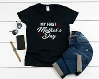 Women's V-neck My First Mother's Day Shirt 1st Mothers Day Gift Tee Outfit Mom