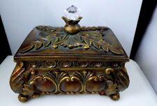 Vintage Wood & Resin Jewelry Trinket Box Ornate Leaves Lidded Art Noveau Footed