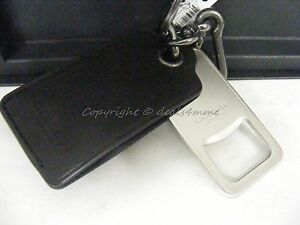NWT! Coach Bottle Opener Keyring/ Keyfob In Black Color Leather. Great Gift!