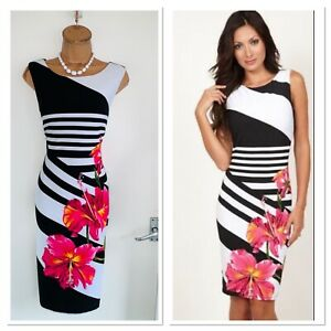 Stunning FRANK LYMAN White Orchid Floral Jersey Bodycon Dress Uk 16