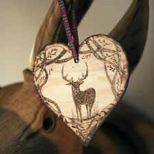 stag deer wooden heart wall plaque ornament home decor interior