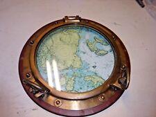 "Real Bronze Ship Porthole Window 20"" - Port Hole Window W/ Map Of Chandler Bay"