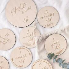 Han-Mm Baby Monthly Milestone Wooden Card, Double Sided Discs, Milestone