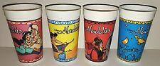 Disney Aladdin Animated Movie Burger King Plastic Drinking Cups Set Of 4 Premium