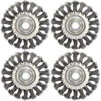 4 x Flat Twist Knot Wire Wheel Brush 100mm M14 x 2 Deburring Angle Grinder AT9