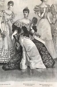 MODE ILLUSTREE SEWING PATTERN December 17,1893 MAJESTUOUS BALL GOWNS